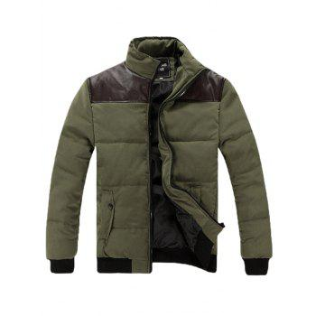 Stand Collar Zip Up PU Spliced Padded Jacket - ARMY GREEN ARMY GREEN