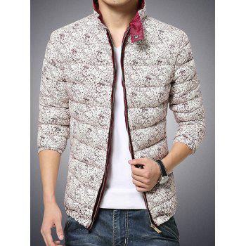 Stand Collar Zip Up Paisley Printed Quilted Jacket - BURGUNDY 5XL