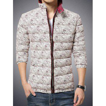 Stand Collar Zip Up Paisley Printed Quilted Jacket