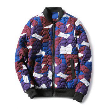 Stand Collar Zip Up Geometric Camo Padded Jacket - RED S