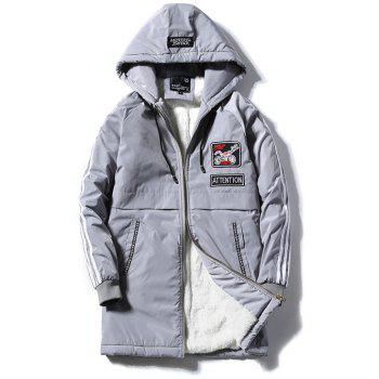 Patch Design Striped Zipper Up Hooded Padded Coat - GRAY GRAY