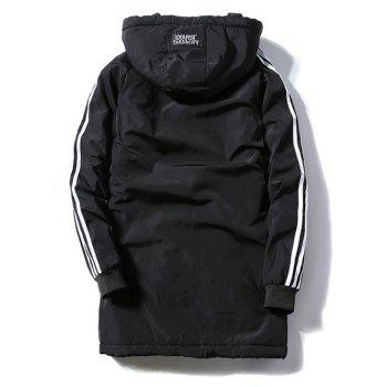 Patch Design Striped Zipper Up Hooded Padded Coat - BLACK XL