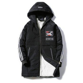 Patch Design Striped Zipper Up Hooded Padded Coat - BLACK BLACK