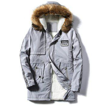 Letter Patch Zipper Pocket Fur Hooded Coat - GRAY GRAY