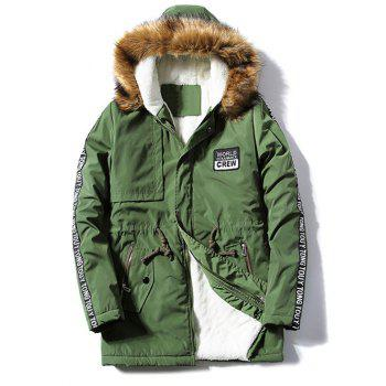 Buy Letter Patch Zipper Pocket Fur Hooded Coat ARMY GREEN