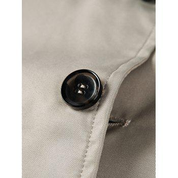 Single Breasted Turndown Collar Epaulet Wind Coat - LIGHT KHAKI XL
