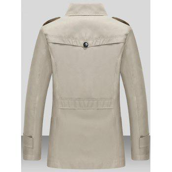 Single Breasted Turndown Collar Epaulet Wind Coat - LIGHT KHAKI L