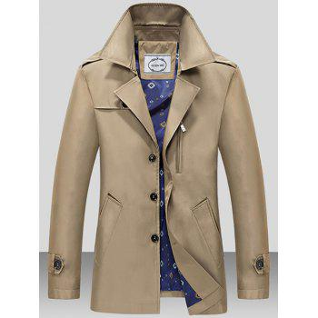 Single Breasted Turndown Collar Epaulet Wind Coat