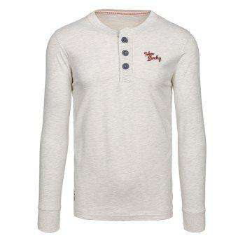 Button Up Embroidery Long Sleeve Tee