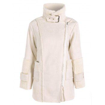 Sherpa Fleece Faux Suede Coat - OFF-WHITE S