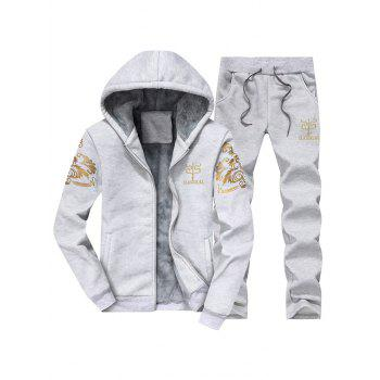 Zip Up Printed Flocking Hoodie and Casual Pants Twinset
