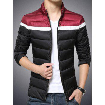 Color Block Funnel Neck Zip Up Padded Jacket - BLACK L