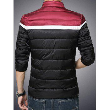 Color Block Funnel Neck Zip Up Padded Jacket - BLACK M