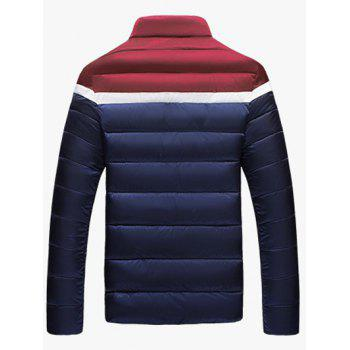 Color Block Funnel Neck Zip Up Padded Jacket - XL XL