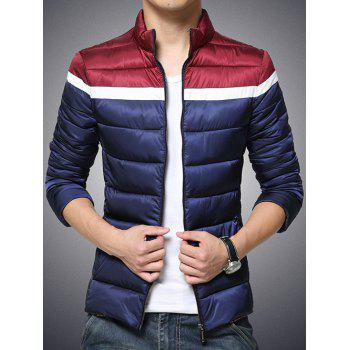 Color Block Funnel Neck Zip Up Padded Jacket - CADETBLUE XL