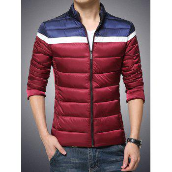 Color Block Funnel Neck Zip Up Padded Jacket - RED 2XL