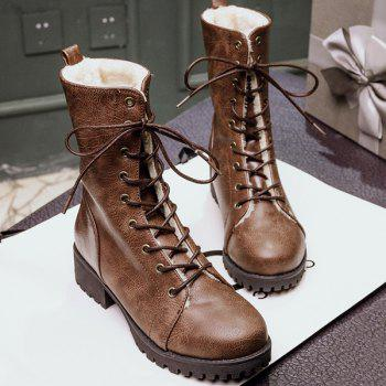 PU Leather Platform Tie Up Short Boots
