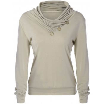 Cowl Neck Long Sleeve Button Tee