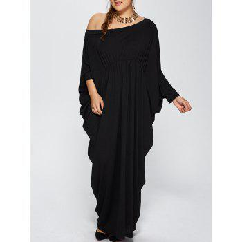 Plus Size One Shoulder Batwing Sleeve Maxi Dress