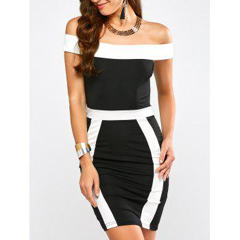Color Block Off The Shoulder Bandage Dress