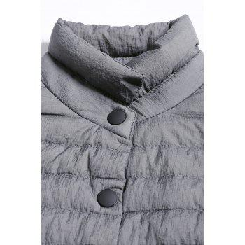 Buttoned Padded Coat - GRAY M