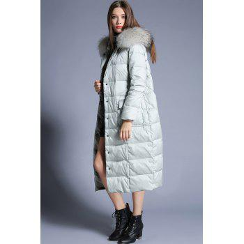 Hooded Long Parka Down Coat - LIGHT GREEN S