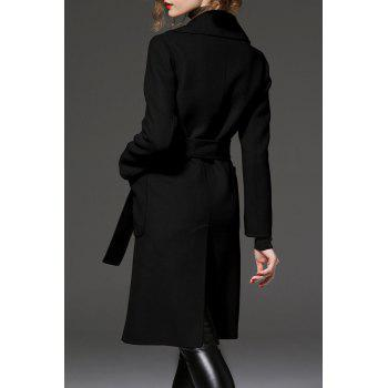 Slit Back Long Coat - BLACK L
