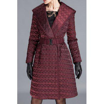 Hooded Belted Quilted Coat
