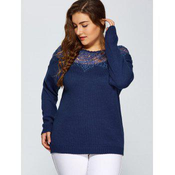 Plus Size Lace Spliced Pullover Sweater - DEEP BLUE 3XL