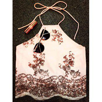 Sequins Lace Up Backless Crop Top