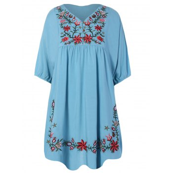 Embroidered Bib A Line Casual Dress Female