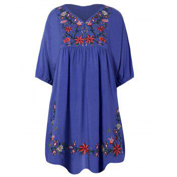 V Neck Embroidered Bib A Line Casual Dress Female