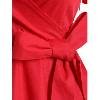 Retro Hepburn Style Bowknot Belted Swing Wrap Dress - XL XL