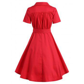 Retro Hepburn Style Bowknot Belted Swing Wrap Dress - RED S