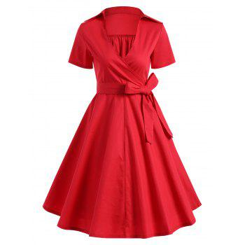 Retro Hepburn Style Bowknot Belted Swing Wrap Dress - RED RED