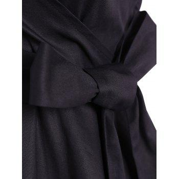 Retro Hepburn Style Bowknot Belted Swing Wrap Dress - BLACK S