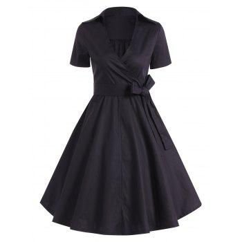 Retro Hepburn Style Bowknot Belted Swing Wrap Dress - BLACK BLACK