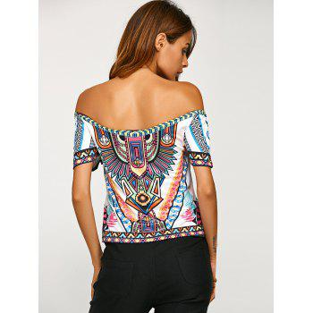 Off Shoulder Backless Tribal Print T-Shirt - WHITE WHITE