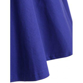 Retro Hepburn Style Bowknot Belted Swing Wrap Dress - BLUE 2XL