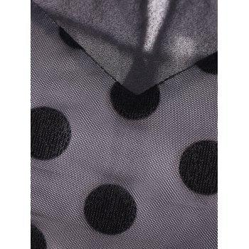 Summer Retro Polka Dot Mesh Yarn Insert Dress - Noir L