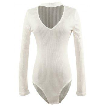 Cut Out Long Sleeve Fitted Choker Bodysuit