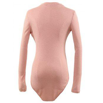 Cut Out Long Sleeve Fitted Choker Bodysuit - PINK L