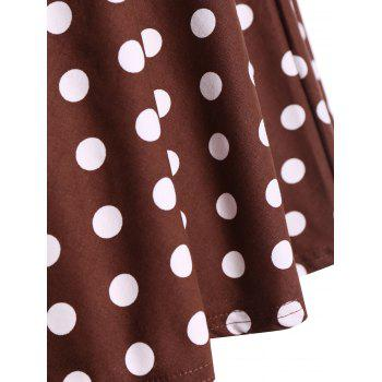 Retro Hepburn Style Polka Dot Bowknot Belted Swing Wrap Dress - COFFEE XL