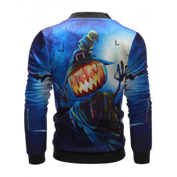 Stand Collar Pumpkin Devil Printed Halloween Jacket - BLUE BLUE