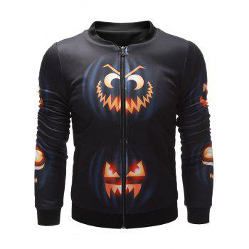 Stand Collar Wicked Pumpkin Printed Halloween Jacket - BLACK BLACK
