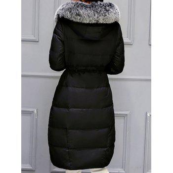 Hooded Long Quilted Coat - BLACK XL