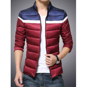 Color Block Funnel Neck Zip Up Padded Jacket - RED RED
