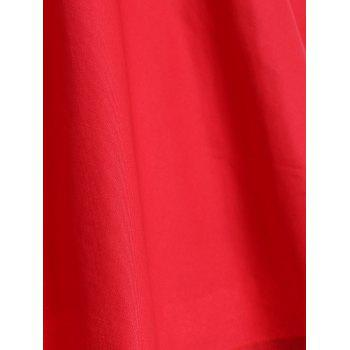 Retro Hepburn Style Bowknot Belted Swing Wrap Dress - RED XL