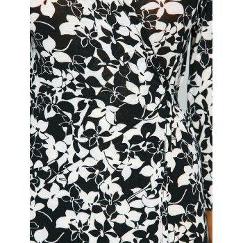 Floral Print Wrap Front Slit Maxi Summer Dress - BLACK L