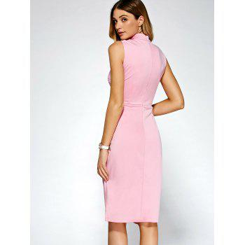 Keyhole Cross Front Bandage Cut Out Dress - PINK S